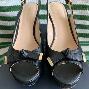TOMMY HILFIGER Black Twkarra Wedge Sandals 6.5 NWT